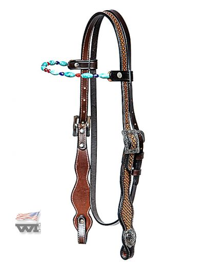BASKET TOOLED HEADSTALL WITH TURQUOIS GEMSTONES