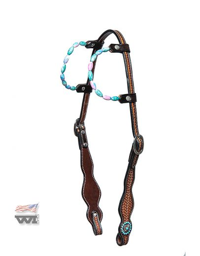 BASKET TOOLED TWO-EAR WITH TURQUOIS GEMSTONES