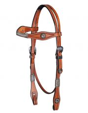 Headstall Tooled Antique Buckles HS-112